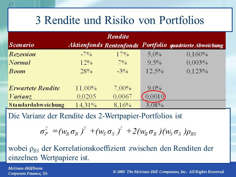 3 Rendite und Risiko von Portfolios