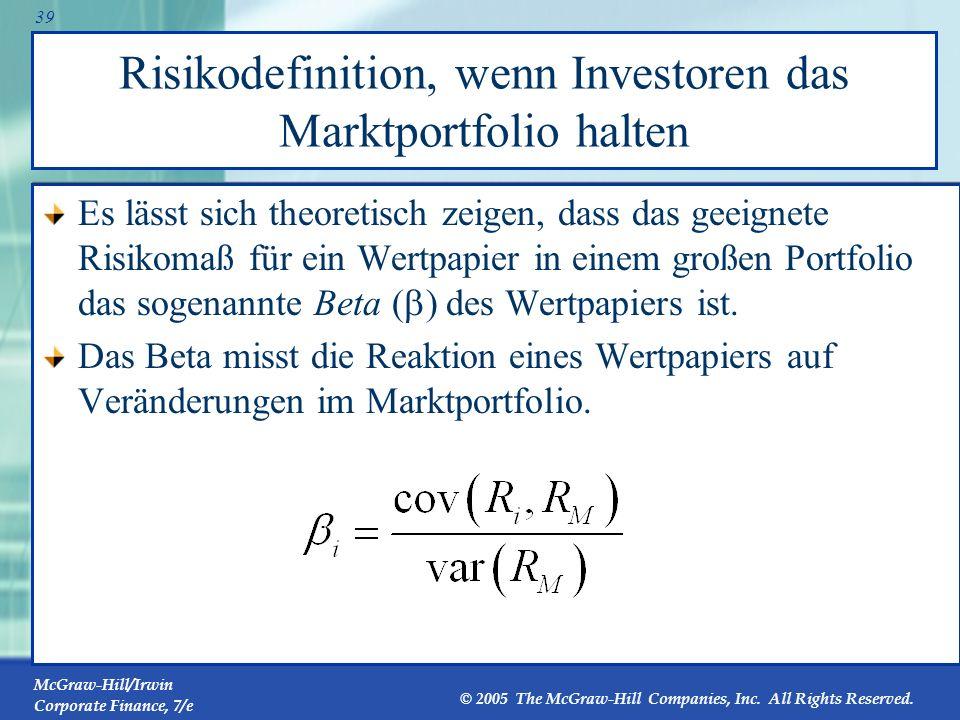 Risikodefinition, wenn Investoren das Marktportfolio halten