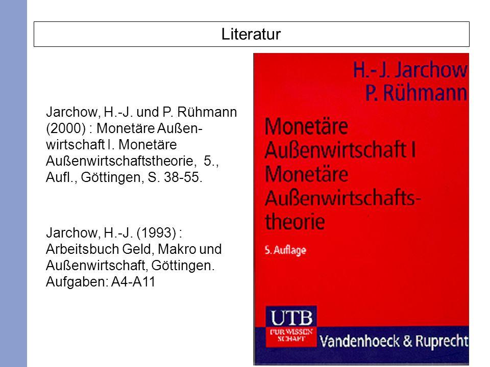 Literatur Jarchow, H.-J. und P. Rühmann (2000) : Monetäre Außen- wirtschaft I. Monetäre Außenwirtschaftstheorie, 5., Aufl., Göttingen, S. 38-55.