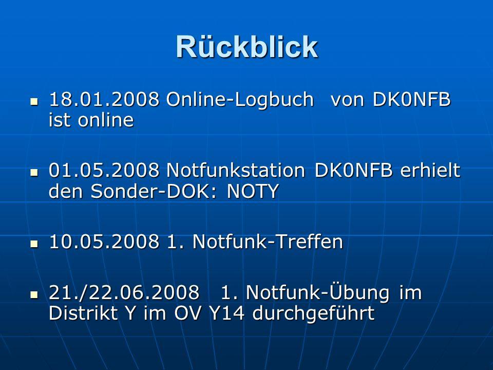 Rückblick 18.01.2008 Online-Logbuch von DK0NFB ist online