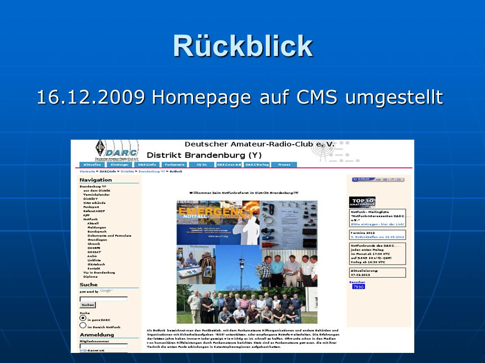 16.12.2009 Homepage auf CMS umgestellt