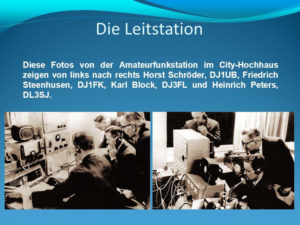 Diese Fotos von der Amateurfunkstation im City-Hochhaus zeigen von links nach rechts Horst Schröder, DJ1UB, Friedrich Steenhusen, DJ1FK, Karl Block, DJ3FL und Heinrich Peters, DL3SJ.