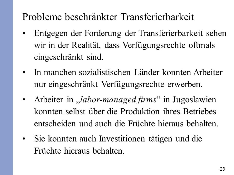 Probleme beschränkter Transferierbarkeit