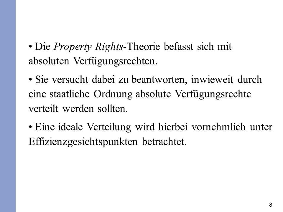 Die Property Rights-Theorie befasst sich mit absoluten Verfügungsrechten.