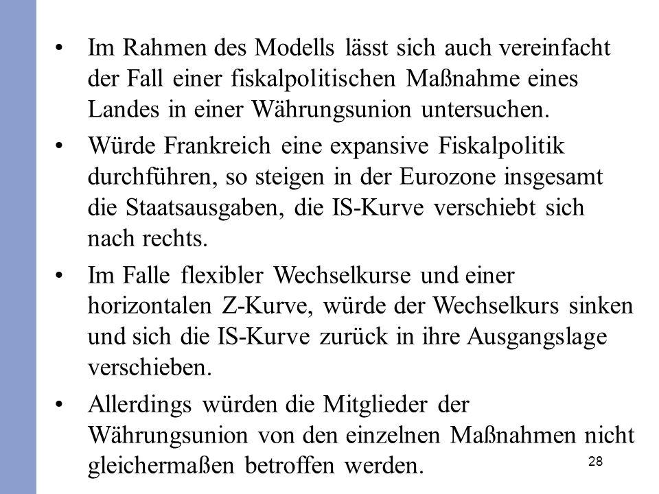 Im Rahmen des Modells lässt sich auch vereinfacht der Fall einer fiskalpolitischen Maßnahme eines Landes in einer Währungsunion untersuchen.