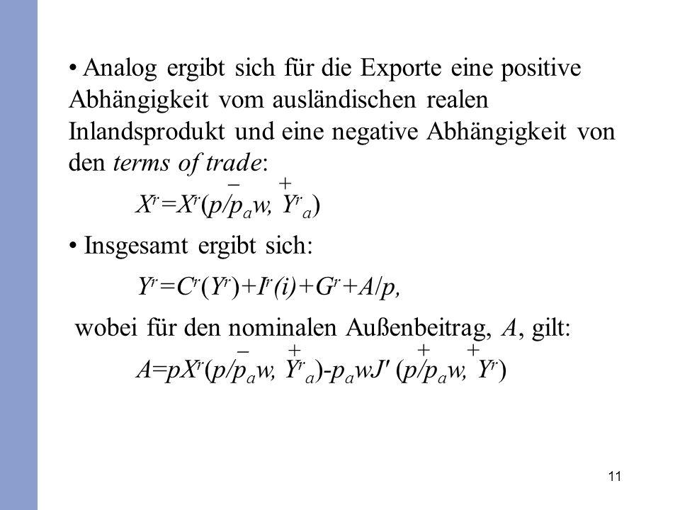 Insgesamt ergibt sich: Yr=Cr(Yr)+Ir(i)+Gr+A/p,