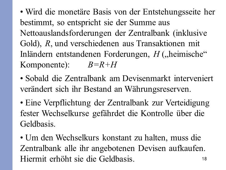 """Wird die monetäre Basis von der Entstehungsseite her bestimmt, so entspricht sie der Summe aus Nettoauslandsforderungen der Zentralbank (inklusive Gold), R, und verschiedenen aus Transaktionen mit Inländern entstandenen Forderungen, H (""""heimische Komponente): B=R+H"""