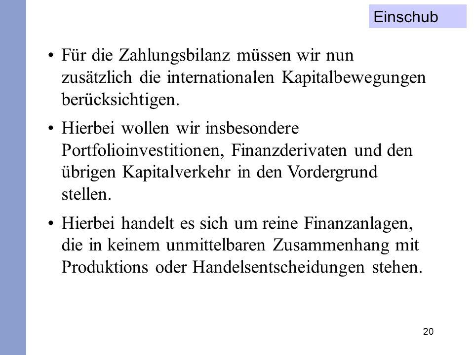 Einschub Für die Zahlungsbilanz müssen wir nun zusätzlich die internationalen Kapitalbewegungen berücksichtigen.