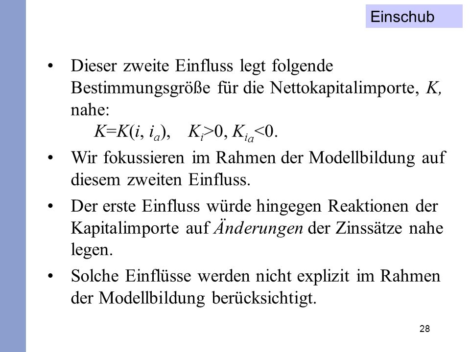 Einschub Dieser zweite Einfluss legt folgende Bestimmungsgröße für die Nettokapitalimporte, K, nahe: K=K(i, ia), Ki>0, Kia<0.