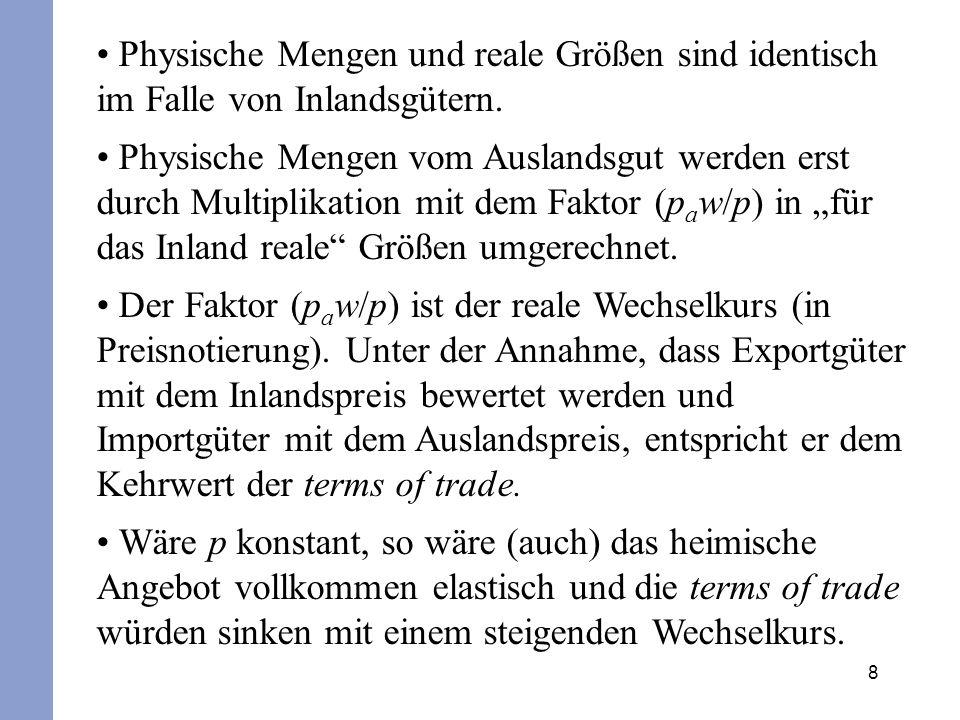 Physische Mengen und reale Größen sind identisch im Falle von Inlandsgütern.