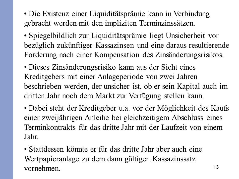Die Existenz einer Liquiditätsprämie kann in Verbindung gebracht werden mit den impliziten Terminzinssätzen.
