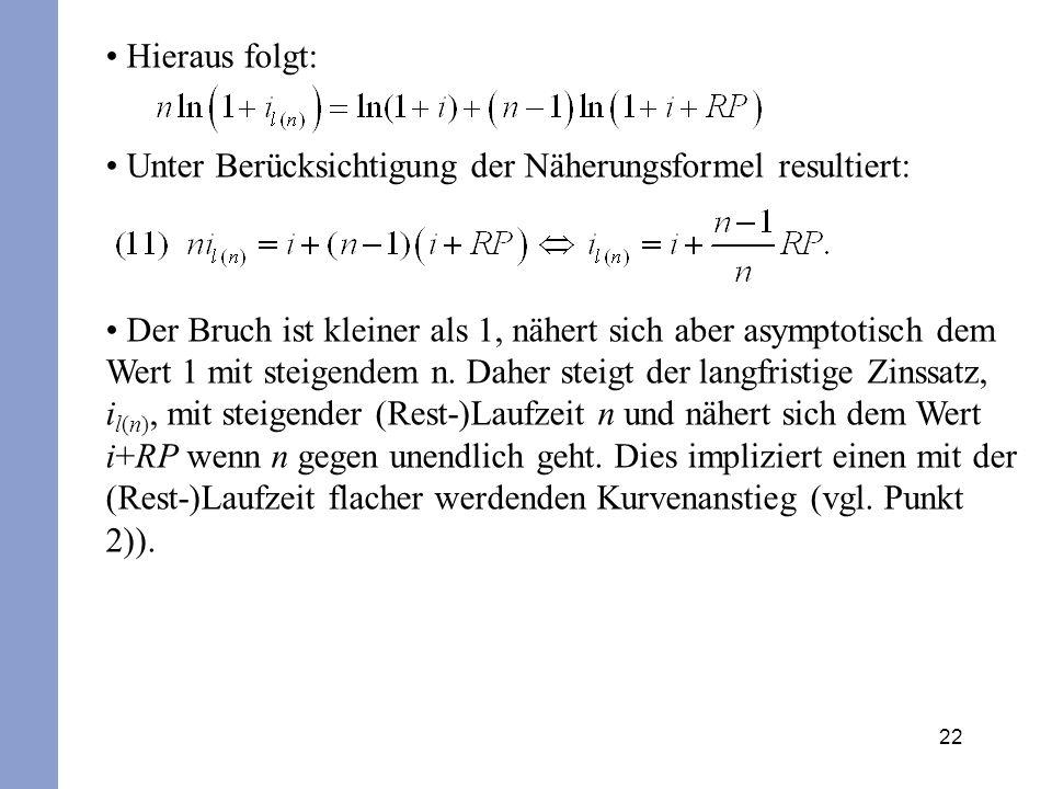 Hieraus folgt: Unter Berücksichtigung der Näherungsformel resultiert: