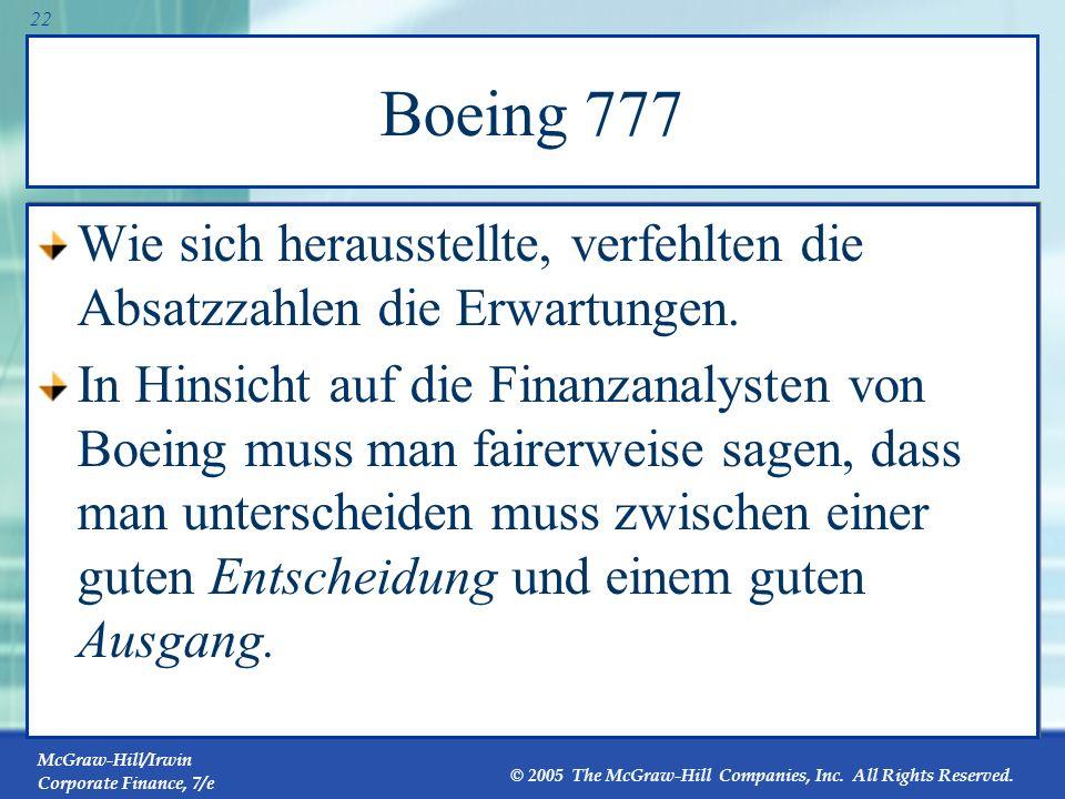 Boeing 777 Wie sich herausstellte, verfehlten die Absatzzahlen die Erwartungen.