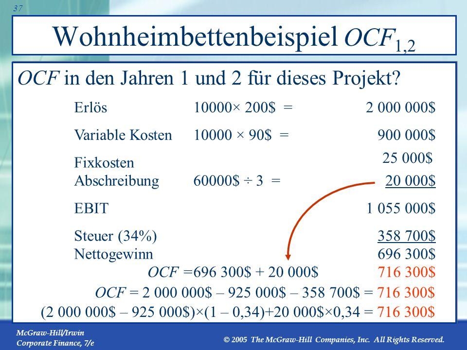 Wohnheimbettenbeispiel OCF1,2