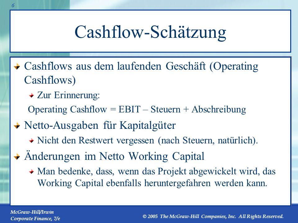 Cashflow-Schätzung Cashflows aus dem laufenden Geschäft (Operating Cashflows) Zur Erinnerung: Operating Cashflow = EBIT – Steuern + Abschreibung.