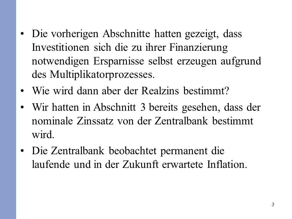 Die vorherigen Abschnitte hatten gezeigt, dass Investitionen sich die zu ihrer Finanzierung notwendigen Ersparnisse selbst erzeugen aufgrund des Multiplikatorprozesses.
