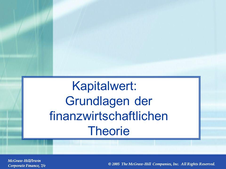 Kapitalwert: Grundlagen der finanzwirtschaftlichen Theorie