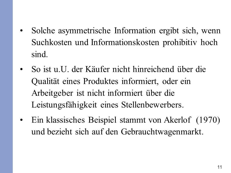 Solche asymmetrische Information ergibt sich, wenn Suchkosten und Informationskosten prohibitiv hoch sind.
