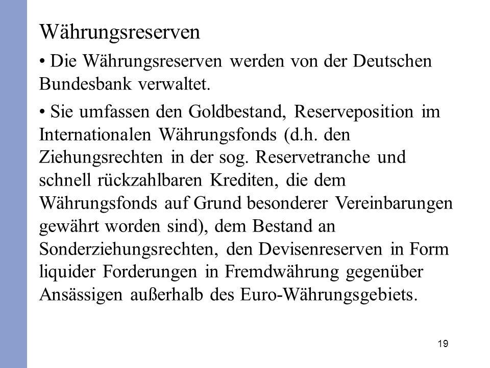 Währungsreserven Die Währungsreserven werden von der Deutschen Bundesbank verwaltet.