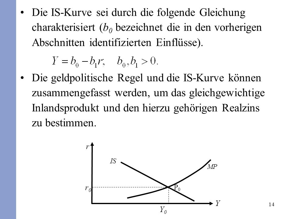 Die IS-Kurve sei durch die folgende Gleichung charakterisiert (b0 bezeichnet die in den vorherigen Abschnitten identifizierten Einflüsse).