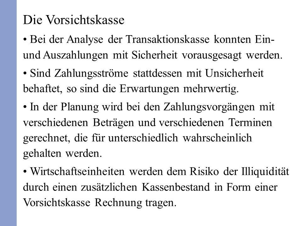 Die Vorsichtskasse Bei der Analyse der Transaktionskasse konnten Ein- und Auszahlungen mit Sicherheit vorausgesagt werden.
