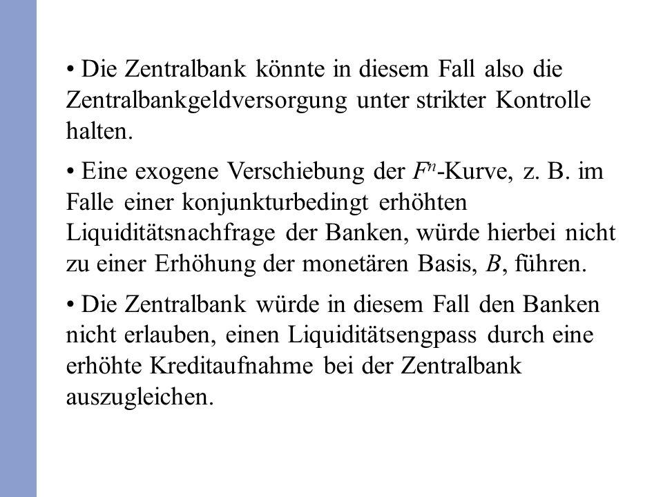 Die Zentralbank könnte in diesem Fall also die Zentralbankgeldversorgung unter strikter Kontrolle halten.