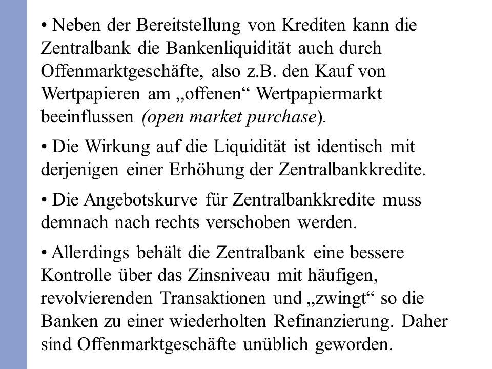 """Neben der Bereitstellung von Krediten kann die Zentralbank die Bankenliquidität auch durch Offenmarktgeschäfte, also z.B. den Kauf von Wertpapieren am """"offenen Wertpapiermarkt beeinflussen (open market purchase)."""