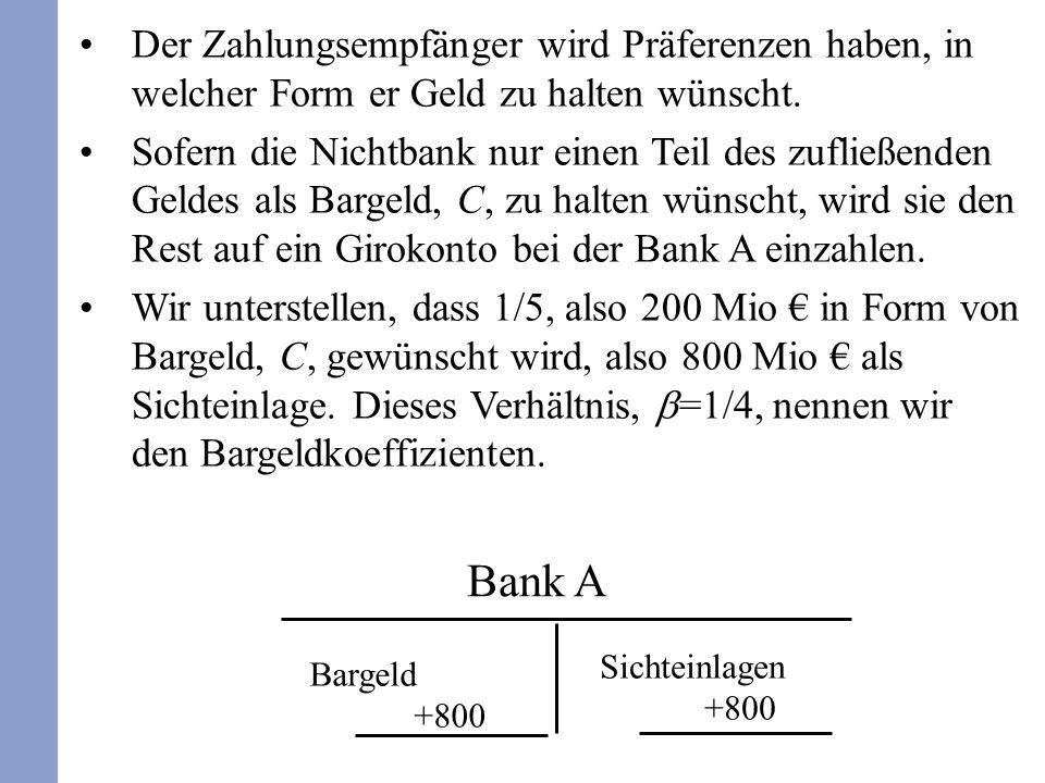 Der Zahlungsempfänger wird Präferenzen haben, in welcher Form er Geld zu halten wünscht.