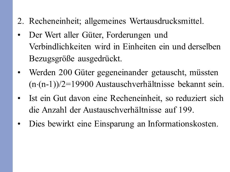 Recheneinheit; allgemeines Wertausdrucksmittel.