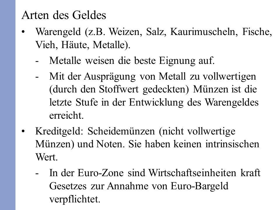 Arten des Geldes Warengeld (z.B. Weizen, Salz, Kaurimuscheln, Fische, Vieh, Häute, Metalle). Metalle weisen die beste Eignung auf.