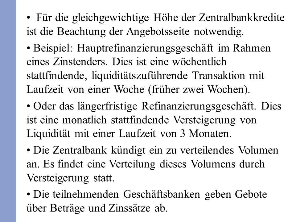 Für die gleichgewichtige Höhe der Zentralbankkredite ist die Beachtung der Angebotsseite notwendig.