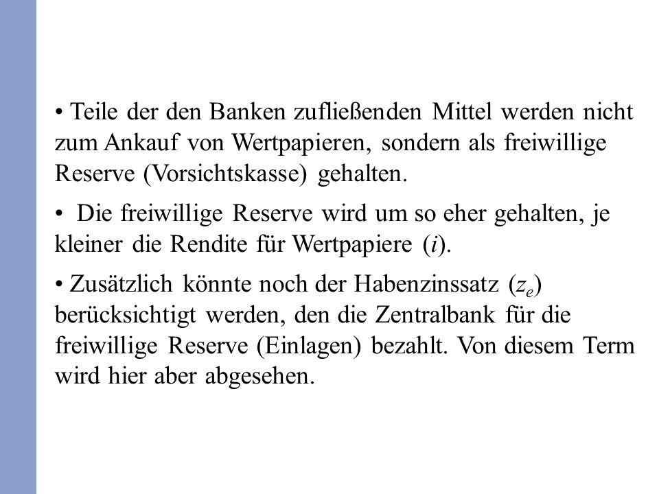 Teile der den Banken zufließenden Mittel werden nicht zum Ankauf von Wertpapieren, sondern als freiwillige Reserve (Vorsichtskasse) gehalten.