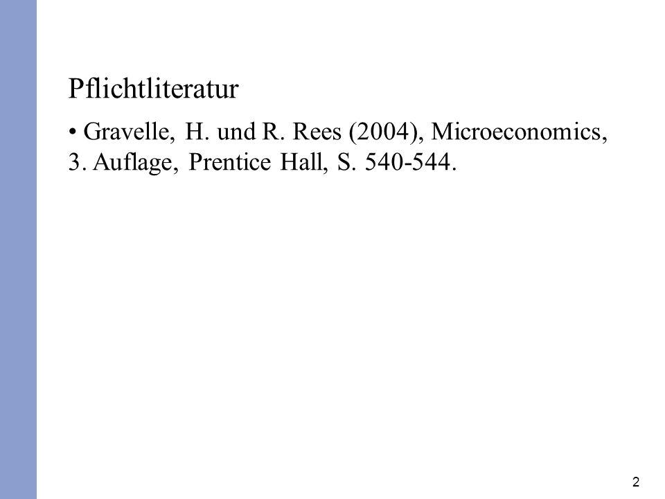Pflichtliteratur Gravelle, H. und R. Rees (2004), Microeconomics, 3.