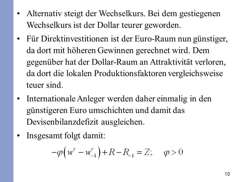 Alternativ steigt der Wechselkurs