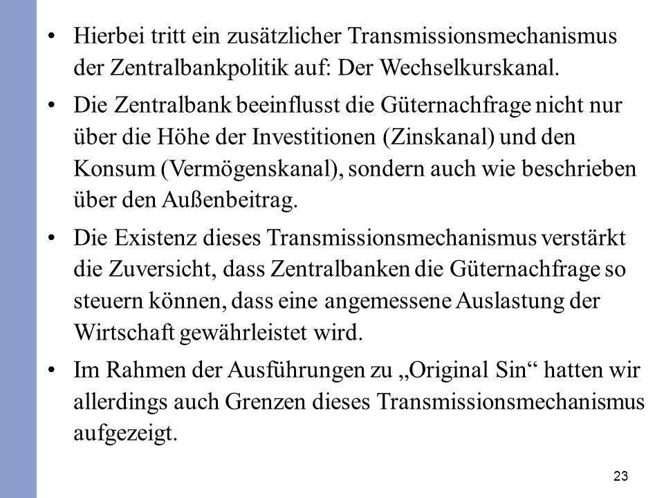 Hierbei tritt ein zusätzlicher Transmissionsmechanismus der Zentralbankpolitik auf: Der Wechselkurskanal.