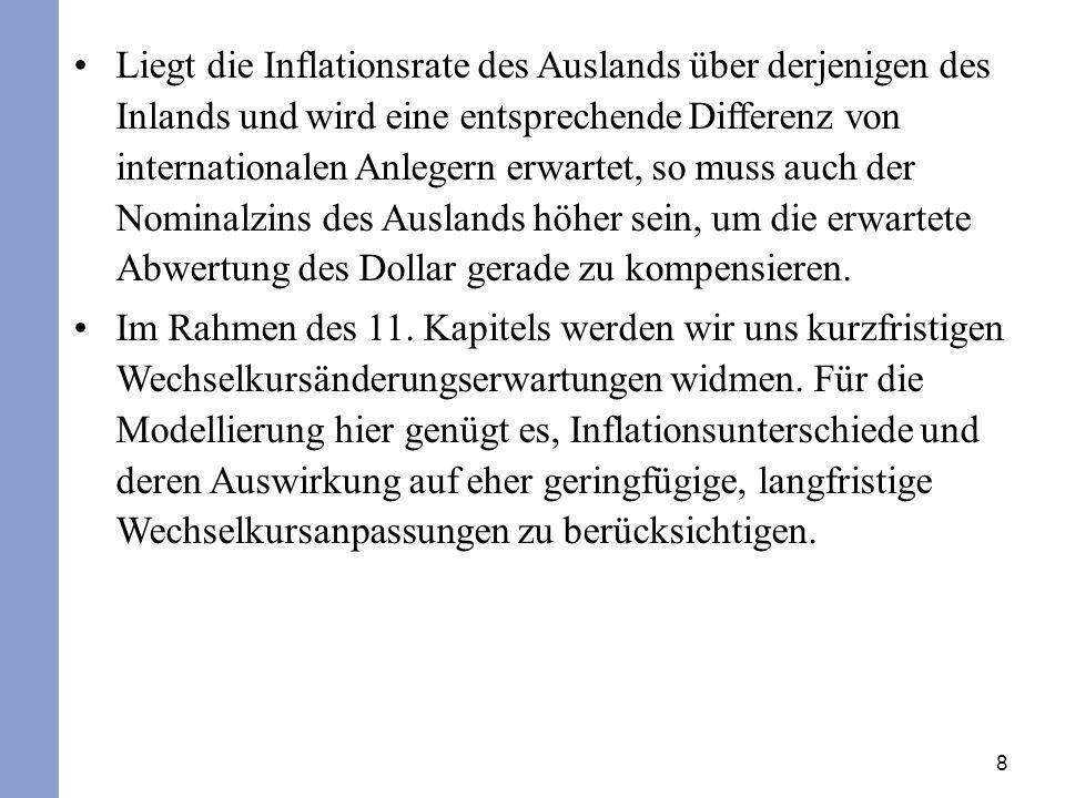 Liegt die Inflationsrate des Auslands über derjenigen des Inlands und wird eine entsprechende Differenz von internationalen Anlegern erwartet, so muss auch der Nominalzins des Auslands höher sein, um die erwartete Abwertung des Dollar gerade zu kompensieren.