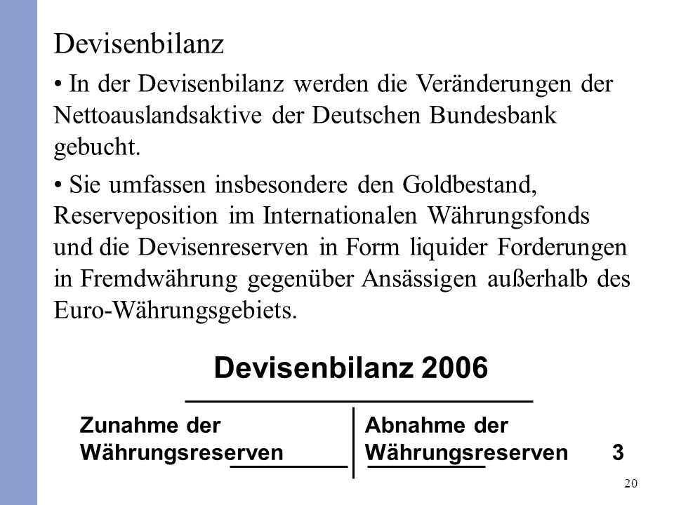 Devisenbilanz Devisenbilanz 2006