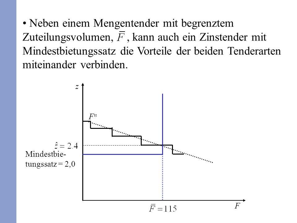 Neben einem Mengentender mit begrenztem Zuteilungsvolumen, , kann auch ein Zinstender mit Mindestbietungssatz die Vorteile der beiden Tenderarten miteinander verbinden.