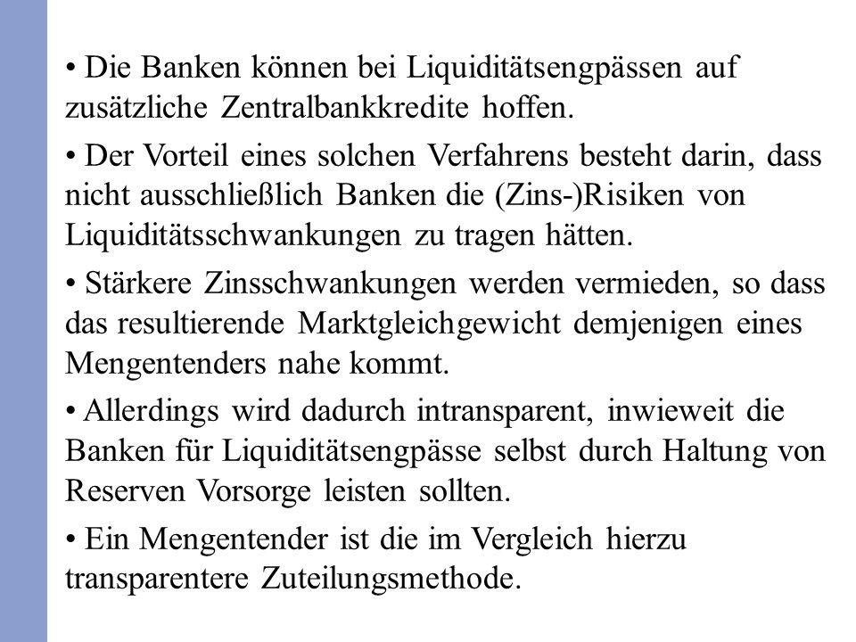 Die Banken können bei Liquiditätsengpässen auf zusätzliche Zentralbankkredite hoffen.