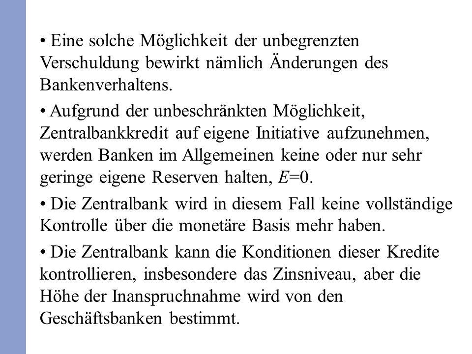 Eine solche Möglichkeit der unbegrenzten Verschuldung bewirkt nämlich Änderungen des Bankenverhaltens.