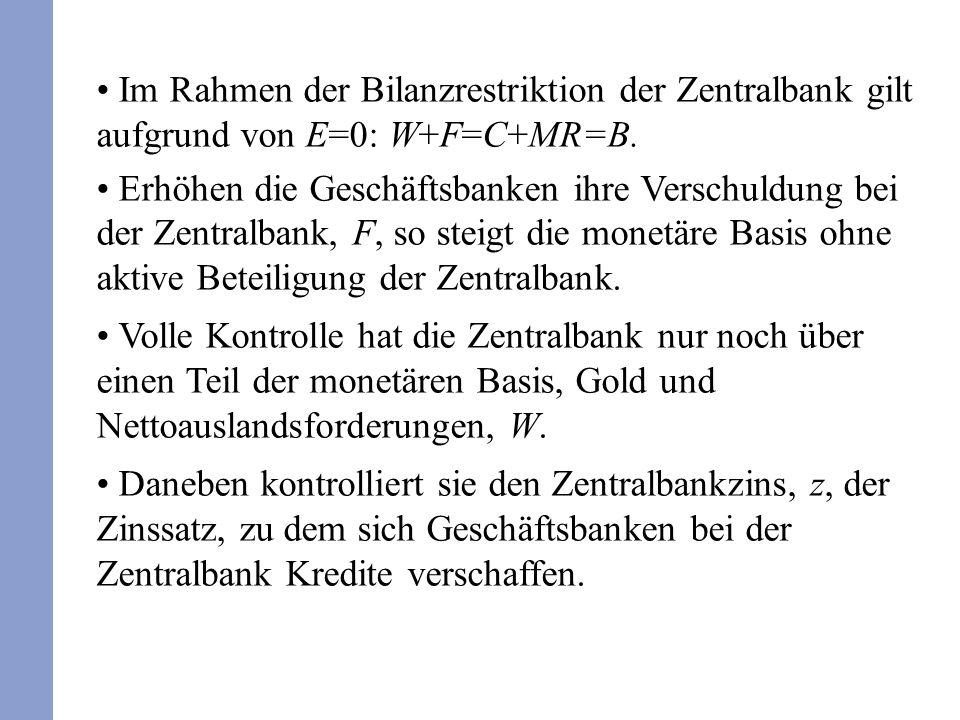 Im Rahmen der Bilanzrestriktion der Zentralbank gilt aufgrund von E=0: W+F=C+MR=B.