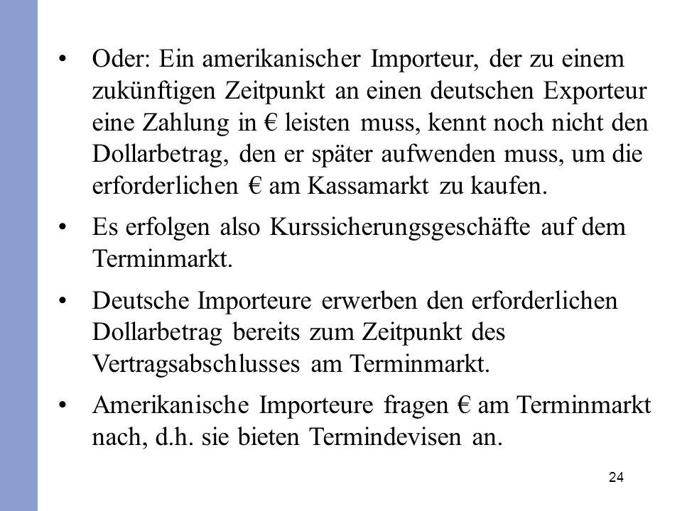 Oder: Ein amerikanischer Importeur, der zu einem zukünftigen Zeitpunkt an einen deutschen Exporteur eine Zahlung in € leisten muss, kennt noch nicht den Dollarbetrag, den er später aufwenden muss, um die erforderlichen € am Kassamarkt zu kaufen.