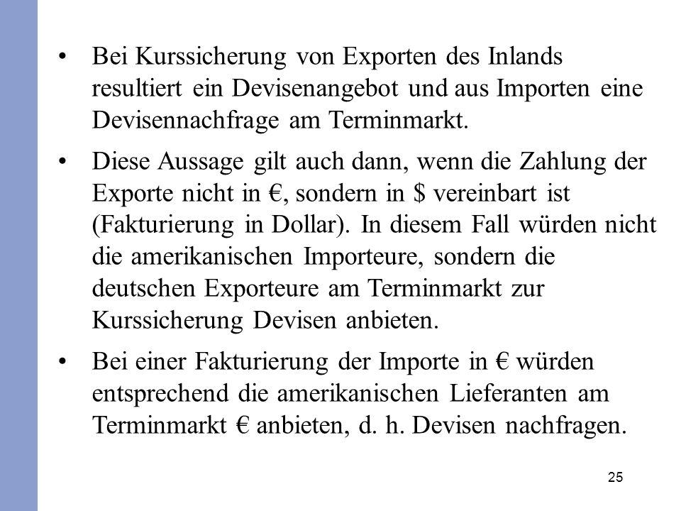 Bei Kurssicherung von Exporten des Inlands resultiert ein Devisenangebot und aus Importen eine Devisennachfrage am Terminmarkt.