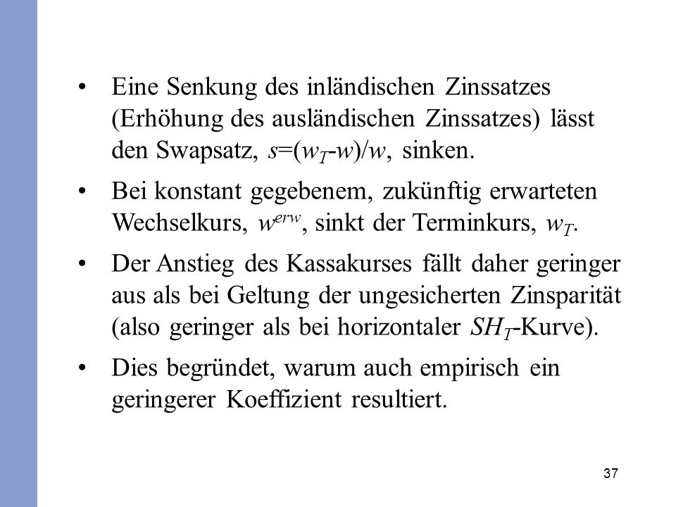 Eine Senkung des inländischen Zinssatzes (Erhöhung des ausländischen Zinssatzes) lässt den Swapsatz, s=(wT-w)/w, sinken.