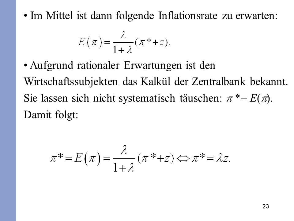 Im Mittel ist dann folgende Inflationsrate zu erwarten: