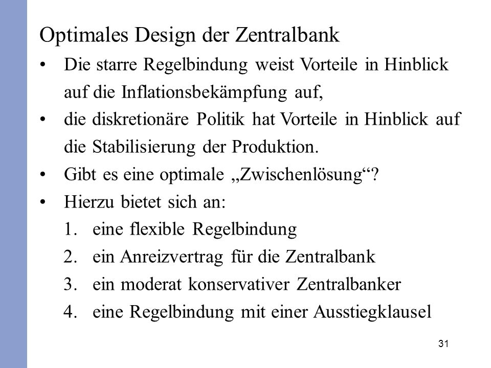 Optimales Design der Zentralbank