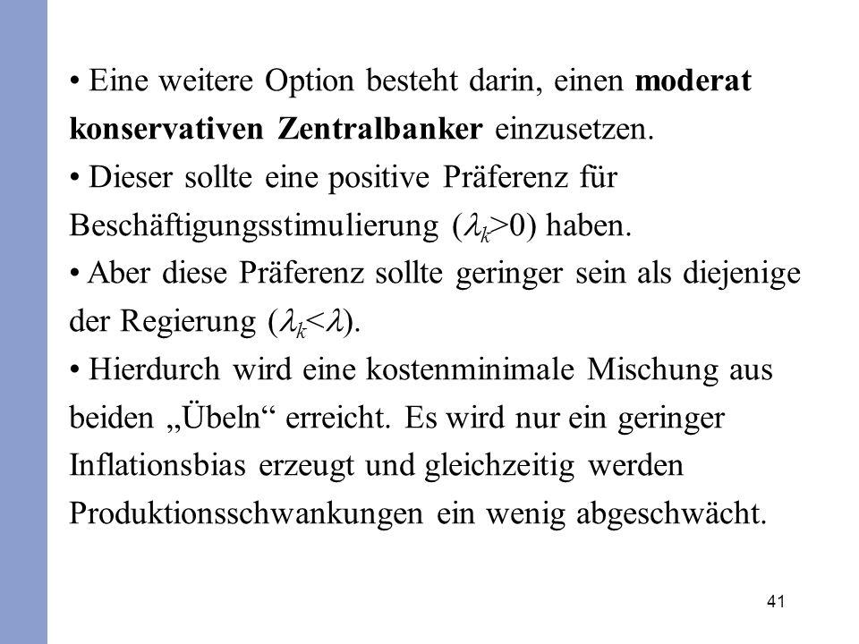 Eine weitere Option besteht darin, einen moderat konservativen Zentralbanker einzusetzen.
