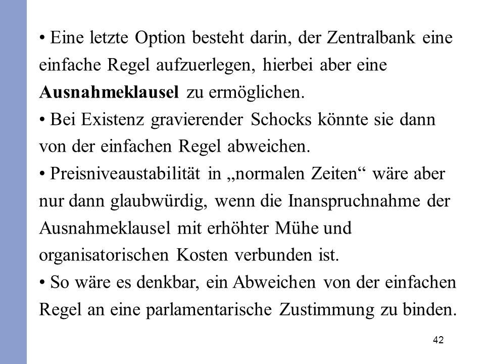 Eine letzte Option besteht darin, der Zentralbank eine einfache Regel aufzuerlegen, hierbei aber eine Ausnahmeklausel zu ermöglichen.