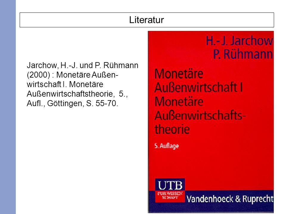 Literatur Jarchow, H.-J. und P. Rühmann (2000) : Monetäre Außen- wirtschaft I.