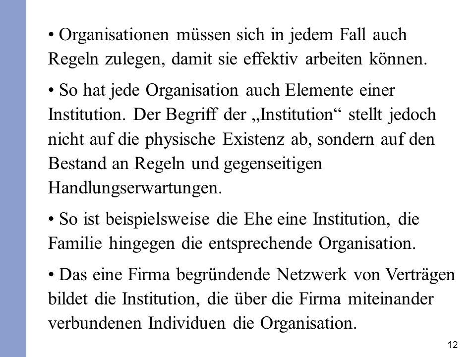Organisationen müssen sich in jedem Fall auch Regeln zulegen, damit sie effektiv arbeiten können.